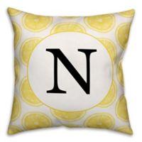 Designs Direct Lemon Slice Monogram Indoor/Outdoor Square Pillow