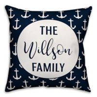 Designs Direct Anchor Pattern Monogram Indoor/Outdoor Square Pillow in Navy