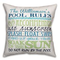 Designs Direct Pool Rules Indoor/Outdoor Square Pillow