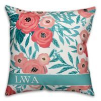 Designs Direct Painted Florals Monogram Indoor/Outdoor Square Pillow