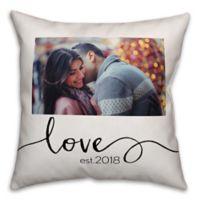 Designs Direct Script Photo Upload Indoor/Outdoor Square Pillow