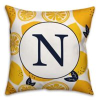 Designs Direct Lemon Monogram Indoor/Outdoor Square Pillow
