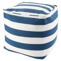 Madison Park Indoor/Outdoor Percee Pouf Pillow in Navy