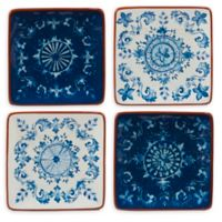 Certified International Porto Canape Plates in Blue (Set of 4)