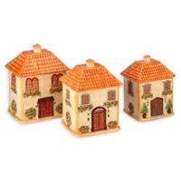 Certified International Piazzette Villa House 3-Piece Canister Set