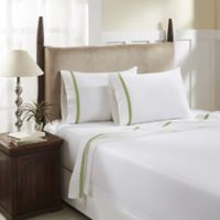 Hotel Luxury Concepts 500-Thread-Count Queen Sheet Set in White/Celadon