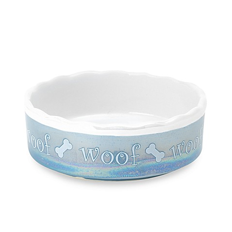 PetRageous® Shimmer and Shine WOOF Stoneware Pet Bowl in Blue