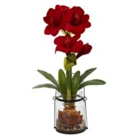 Nearly Natural 24-Inch Artificial Amaryllis Plant in Glass Bucket