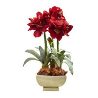 Nearly Natural 26-Inch Amaryllis Arrangement with Vase