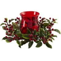 Nearly Natural 6.5-Inch Holly Berry Candelabrum