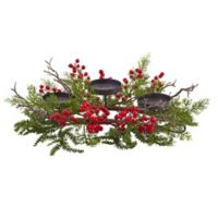 Nearly Natural 6-Inch Berry and Pine Triple Candelabrum