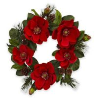 Nearly Natural 24-Inch Red Magnolia and Pine Wreath