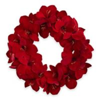 Nearly Natural 22-Inch Amaryllis Wreath