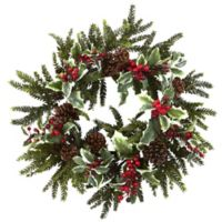 Nearly Natural 22-Inch Holly Berry Wreath