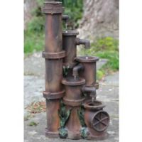Northlight Rusted Cascading Pipes Fountain in Brown