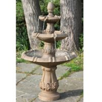 Northlight Tiered Leaf Fountain in Brown