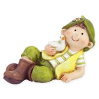 Northlight 7.5-Inch Boy Gnome Figure in Green with Duck