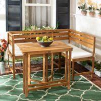 Safavieh Wilton Balcony Corner Lounge Set in Teak/Beige