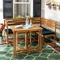 Safavieh Wilton Balcony Corner Lounge Set in Teak/Navy