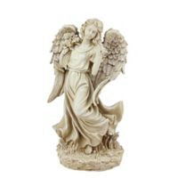 Northlight 18-Inch Angel with Bird and Bouquet Statue in Brown