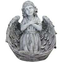Northlight 16-Inch Angel Wrapped in Wings Statue in Grey