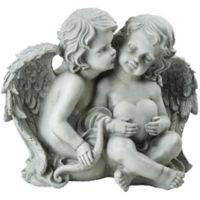 Northlight Resting Angels with Heart and Bow Statue in Grey