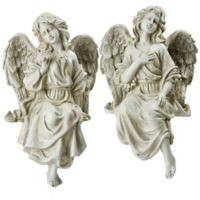 Northlight Sitting Angel Statues in Grey (Set of 2)