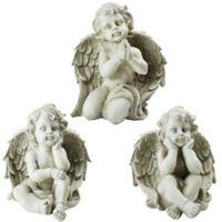 Sitting Cherub Angel Statues in Grey (Set of 3)