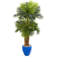 Nearly Natural 5-Foot Artificial Triple Areca Palm Tree with Glazed Blue Planter