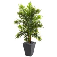 Nearly Natural 5.5-Foot Artificial Areca Palm Tree with Slate Planter