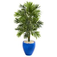 Nearly Natural 48-Inch Artificial Areca Palm Tree with Glazed Blue Planter