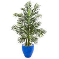 Nearly Natural 54-Inch Indoor/Outdoor Artificial Areca Palm Tree with Blue Planter