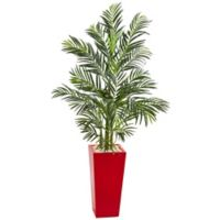 Nearly Natural 60-Inch Indoor/Outdoor Artificial Areca Palm Tree with Red Planter