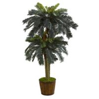 Nearly Natural 5.5-Inch Double Sago Palm Tree in Bamboo Planter