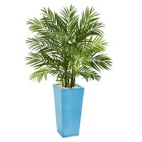 Nearly Natural 4.5-Foot Areca Palm in Turquoise Planter