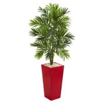 Nearly Natural 54-Inch Artificial Areca Palm Tree in Red Planter