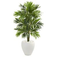 Nearly Natural 4-Foot Areca Artificial Palm Tree in White Planter
