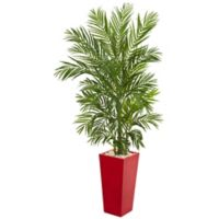 Nearly Natural 5.5-Foot Artificial Areca Palm Tree in Red Planter