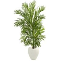 Nearly Natural 5-Foot Artificial Areca Palm Tree in Red Planter