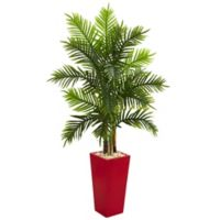 Nearly Natural 5.5-Foot Artificial Areca Real Touch Palm Tree in Red Planter