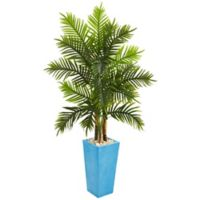 Nearly Natural 5.5-Foot Artificial Areca Real Touch Palm Tree in Turquoise Planter