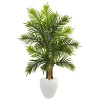 Nearly Natural 5.5-Foot Artificial Areca Real Touch Palm Tree in White Planter