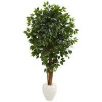 Nearly Natural 72-Inch Ficus Artificial Tree in White Planter