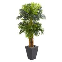Nearly Natural 5.5-Foot Triple Areca Palm Artificial Tree in Slate Finish Planter