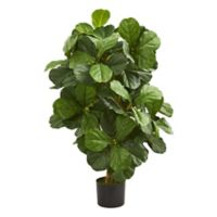 Nearly Natural 42-Inch Artificial Fiddle Leaf Tree with Black Planter