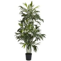 Nearly Natural 72-Inch Bamboo Palm Artificial Tree with Black Planter