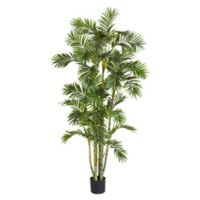 Nearly Natural 72-inch Areca Palm Artificial Tree with Black Planter
