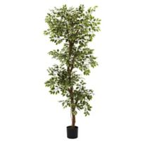 Nearly Natural 72-Inch Artificial Roman Ficus Tree with Black Planter