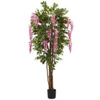 Nearly Natural 78-Inch Artificial Wisteria Tree in Black Planter