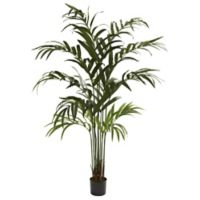 Nearly Natural 72-Inch Artificial Kentia Palm Tree with Black Planter